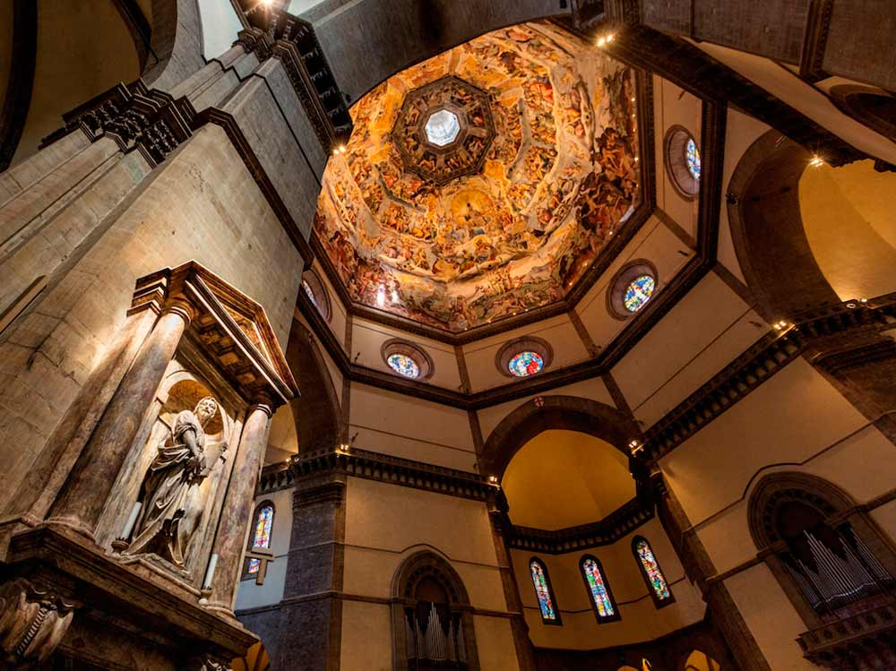 the dome of florence cathedral basilica Section of brunelleschi's dome of the cathedral, florence  'florence duomo' - basilica of saint mary of the flower, florence, italy / photographed by andy mcgarry.